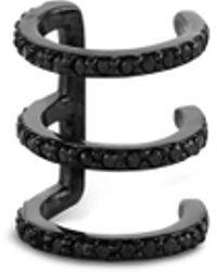 Lynn Ban - '3coil' Diamond Black Rhodium Single Ear Cuff - Lyst