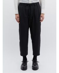 Ziggy Chen - Stripe Back Pleated Linen-cotton Cropped jogging Trousers - Lyst
