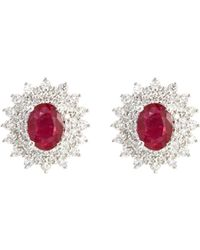 LC COLLECTION - Diamond Ruby 18k White Gold Stud Earrings - Lyst