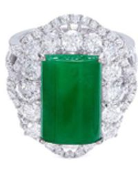 LC COLLECTION - Diamond Jade 18k Gold Scallop Ring - Lyst