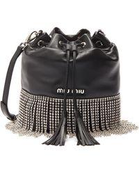 Miu Miu - Glass Crystal Fringe Leather Bucket Bag - Lyst