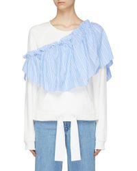 Xiao Li - Detachable Stripe Ruffle Panel Drawstring Sweatshirt - Lyst