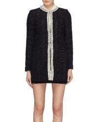 Alice + Olivia - 'andreas' Glass Crystal Placket Metallic Tweed Jacket - Lyst