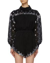 Philosophy Di Lorenzo Serafini - Sequin Embellished Linen Blend High Neck Rompers - Lyst