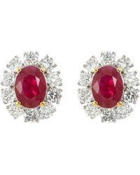 LC COLLECTION - Diamond Ruby 18k Gold Scalloped Stud Earrings - Lyst