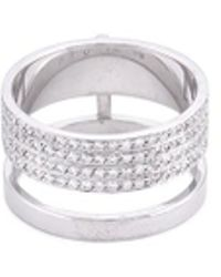 Repossi - 'berbére Module' Diamond Pavé 18k White Gold Two Row Ring - Lyst