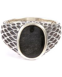 John Hardy - 'legends Naga' Obsidian Silver Signet Ring - Lyst