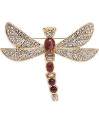 Kenneth Jay Lane - Cabochon Glass Crystal Dragonfly Brooch - Lyst