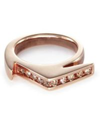 Lynn Ban - 'stackable Jagged Knuckle A' Diamond Rose Gold Silver Ring - Lyst