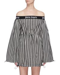 Palm Angels - Logo Band Check Off-shoulder Balloon Dress - Lyst