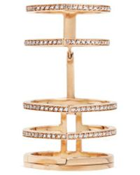 Repossi | 'antifer' Diamond Pavé 18k Rose Gold Six Row Linked Ring | Lyst
