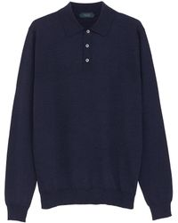 Incotex - Virgin Wool Blend Knit Long Sleeve Polo Shirt - Lyst