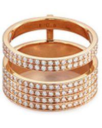Repossi - 'berbère Module' Diamond 18k Rose Gold Two Row Ring - Lyst
