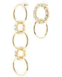 Joomi Lim - Swarovski Pearl Mismatched Interlocking Hoop Drop Earrings - Lyst