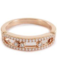 Messika - 'baby Move Pavé' Diamond 18k Rose Gold Ring - Lyst