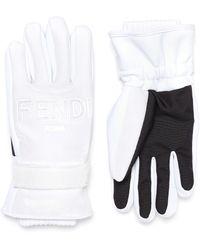 Fendi - Logo Patch Knit Cuff Padded Ski Gloves - Lyst