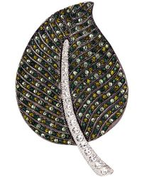 Kenneth Jay Lane | Glass Crystal Leaf Brooch | Lyst