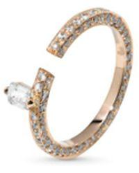 Dauphin - 'disruptive' Pavé Diamond 18k Rose Gold Ring - Lyst