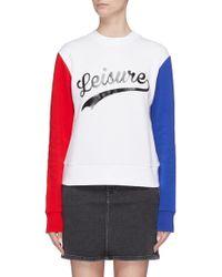 Être Cécile - 'leisure' Slogan Print Contrast Sleeve Sweatshirt - Lyst