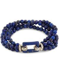 LC COLLECTION - Diamond Lapis Lazuli Bead Four Row Bracelet - Lyst