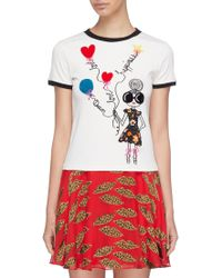 Alice + Olivia - 'rylyn' Stacey Slogan Embroidered Ringer T-shirt - Lyst