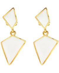 Kenneth Jay Lane - Enamel Geometric Drop Clip Earrings - Lyst