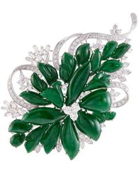 LC COLLECTION | Diamond Jade 18k White Gold Floral Brooch | Lyst