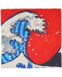 Franco Ferrari - 'tarth' Wave Print Wool-silk Herringbone Scarf - Lyst