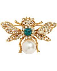 Kenneth Jay Lane - Cabochon Glass Crystal Glass Pearl Bee Brooch - Lyst