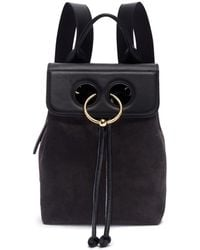 JW Anderson - 'pierce' Barbell Ring Mini Leather Flap Suede Backpack - Lyst