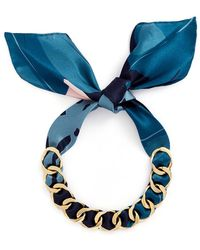 W. Britt - Curb Chain Floral Print Scarf Tie Necklace - Lyst
