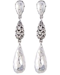 John Hardy - Hammered Silver Teardrop Link Earrings - Lyst