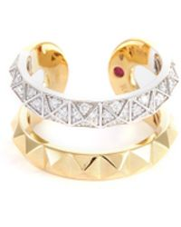 Roberto Coin - 'symphony' Diamond 18k Yellow Gold Cutout Ring - Lyst