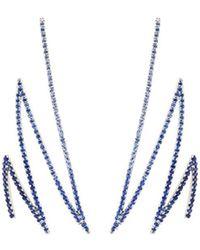Khai Khai - 'zigzag' Sapphire 18k White Gold Earrings - Lyst