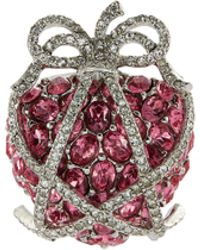 Kenneth Jay Lane - Glass Crystal Bow Strawberry Cage Pin - Lyst
