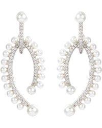 CZ by Kenneth Jay Lane - Cubic Zirconia Glass Pearl Drop Earrings - Lyst