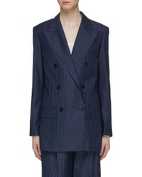Theory - Double Breasted Stripe Virgin Wool Blazer - Lyst