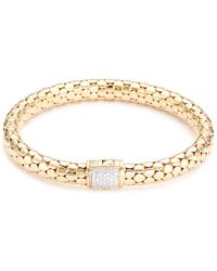 John Hardy - Diamond 18k Yellow Gold Dotted Bracelet - Lyst