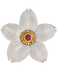 Buccellati - Ruby 18k Gold Floral Brooch - Lyst