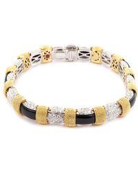 Roberto Coin - 'barocco' Diamond Onyx 18k Yellow Gold Bangle - Lyst