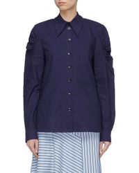 Tibi - 'watts' Ruched Sleeve Shirt - Lyst
