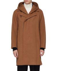 Attachment - Detachable Hood Wool-cashmere Melton Coat - Lyst