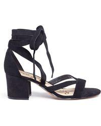 Sam Edelman - 'sheri' Ankle Tie Block Heel Suede Sandals - Lyst