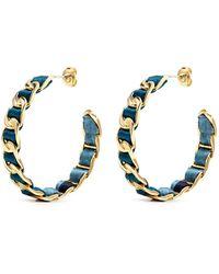 W. Britt - Curb Chain Floral Print Ribbon Hoop Earrings - Lyst