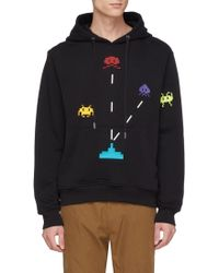 Mostly Heard Rarely Seen - 'space Invader' Textured Graphic Print Hoodie - Lyst