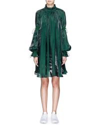 Angel Chen - Bubble Sleeve Ruched Charmeuse Dress - Lyst