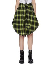 Amiri - Sleeve Tie Waist Check Plaid Skirt - Lyst