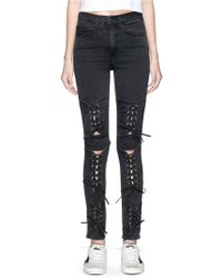 Madegold - 'bianca' Lace-up Cutout Panel Denim Trousers - Lyst