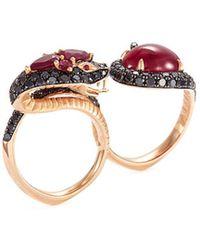 Stephen Webster - Diamond Ruby 18k Rose Gold Two Finger Snake Ring - Lyst