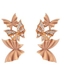 Stephen Webster - 'pavé Triple' Diamond 18k Rose Gold Batmoth Earrings - Lyst